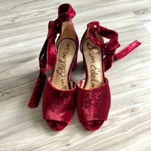 Sam Edelman Odele Red Velvet Lace-up Heel Sandals